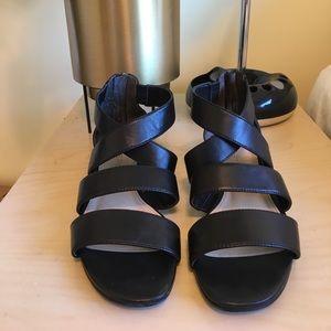 Via Spiga BlackS Strappy Zip Up Wedge Sandals